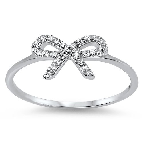 NEW! DESIGNER STYLE BOW RIBBON CZ RING Sterling Silver Ring Size 4-9 Sterling Si