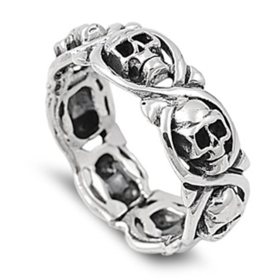 925 Solid Sterling Silver Ring - Skulls Band 8 mm (0.34 inch)