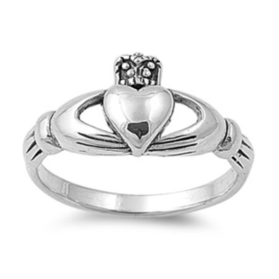 925 Solid Sterling Silver Ring - Claddagh Band 10 mm (0.40 inch)