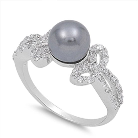 Silver GENUINE FRESHWATER BLACK PEARL CZ Solid Sterling Silver Ring Solid Sterli