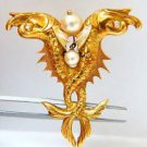 18KT YELLOW GOLD PISCES ORIENTAL PIN 0.20CT DIAMOND PEARL BROOCH 11.4 GRAMS