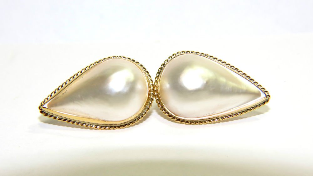 $1000 22MM VINTAGE ANTIQUE MABE PEARL CLIP ON EARRINGS 14KT