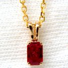 "NATURAL 0.70CT RUBY GEM PENDANT 14KT 16"" CHAIN RED EMERALD CUT"