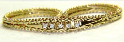 $1800 NATURAL 0.20CT DIAMOND VINTAGE ANTIQUE ESTATE BRACELET 14KT