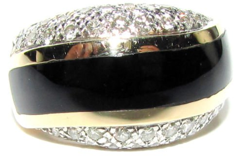 $1700 NATURAL HAND CARVED BLACK ONYX DIAMOND RING