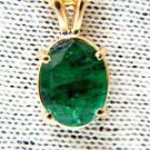"NATURAL 2.31CT EMERALD GEM PENDANT 14KT ZAMBIA 16"" CHAIN OVAL CUT"