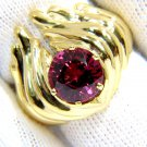 NATURAL 3.75CT RUBELITE RING SOLITAIRE 14KT LADIES NEW ROUND VINTAGE WINGS DECO