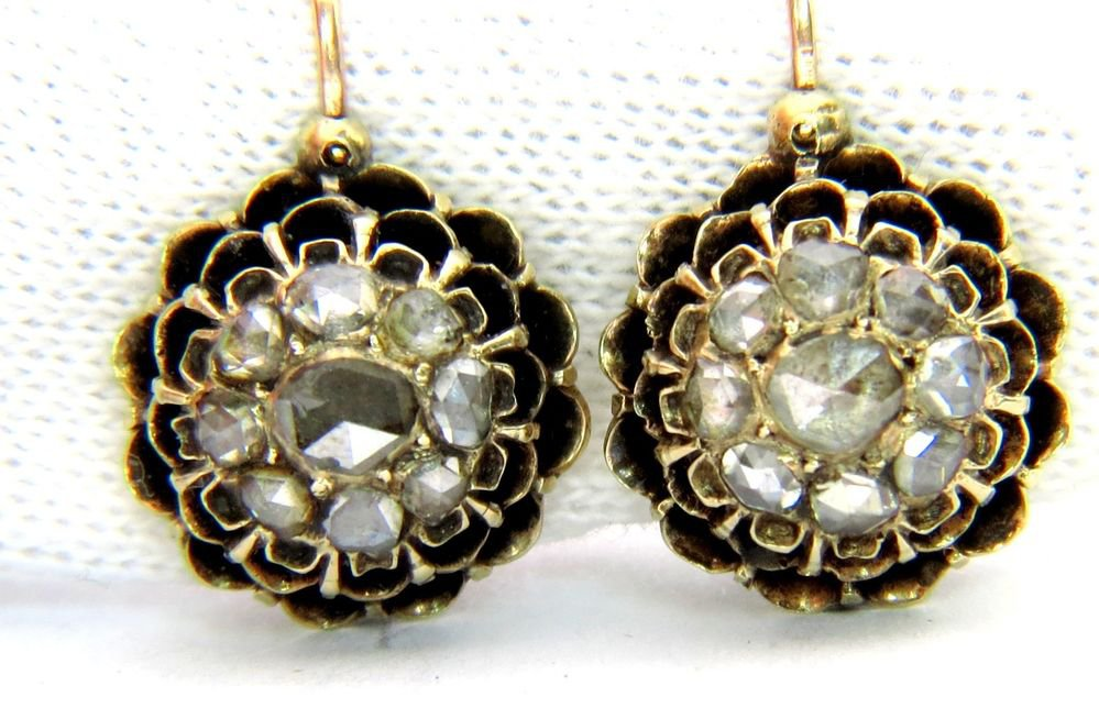 VINTAGE OLD MINE CUT DIAMOND HOOK ON EARRINGS 10KT HUGGIE PETITE