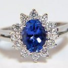 NATURAL 1.42CT TANZANITE DIAMOND 14KT RING CLUSTER FLOWER LADIES G VS2 COCKTAIL