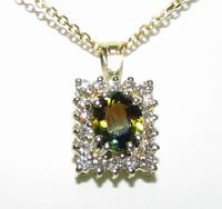 NATURAL YELLOW-GREEN SAPPHIRE DIAMOND NECKLACE