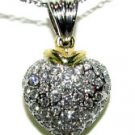 $1700 NATURAL DIAMOND PAVE HEART PENDANT NECKLACE 14KT