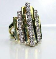 $1700 NATURAL LADIES DIAMOND STEP RING VINTAGE DECO
