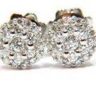 NATURAL 0.40CT DIAMOND CLUSTER EARRINGS 14KT HUGGIE g vs2