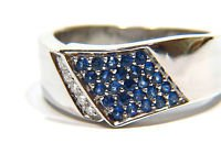 $1700 NATURAL 0.70CT SAPPHIRE & DIAMOND RING 14KT A+ PAVE SET