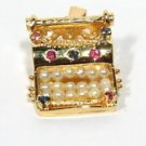 $1500 NATURAL 0.35CT SAPPHIRE RUBY PEARL PENDANT TYPEWRITER DESIGN UNIQUE 14KT