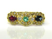 $1900 NATURAL EMERALD RUBY SAPPHIRE DIAMOND BAND RING 14KT