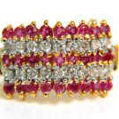 $900 NATURAL 1.50CT RUBY DIAMOND BAND RING 10KT FREE SIZING