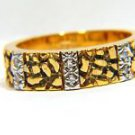 $1500 NATURAL 0.06CT DIAMOND RING 14KT YELLOW GOLD NUGGET DESIGN