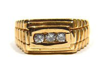 $2400 NATURAL 0.30CT DIAMOND MENS 14KT RING G COLOR SI-1 CLARITY 3 STONE