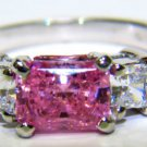 $1500 PINK AND WHITE CUBIC ZIRCONIUM 3 STONE RING 14KT