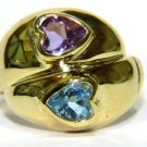 $1000 NATURAL 2.00CT AMETHYST TOPAZ DOUBLE HEART RING 14KT