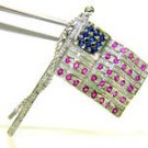 NATURAL 1.90ct DIAMOND SAPPHIRE RUBY AMERICAN FLAG PIN 14KT