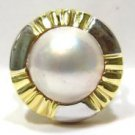 $1200 LADIES NATURAL MABE 12MM PEARL 14KT YELLOW GOLD RING 9.1 GRAMS