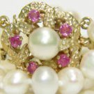 FRESHWATER DOUBLE STRAND PEARL RUBY STARFISH NECKLACE 14KT