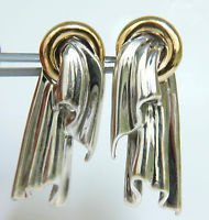 VINTAGE SILVER & 14KT YELLOW GOLD CLIP ON DANGLE EARRINGS