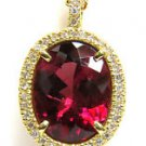 NATURAL 9.86CT TOURMALINE DIAMOND PENDANT VS2 14KT