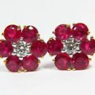 NATURAL 7.08CT RUBY DIAMOND CLUSTER EARRINGS VS2 14KT BLOOD