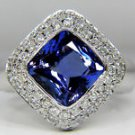 NATURAL 4.58CT TANZANITE DIAMOND BAND RING 14KT BLUE COLOR