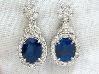 NATURAL 19.00CT CREATED SAPPHIRE DIAMOND EARRINGS VS2 14KT GOLD