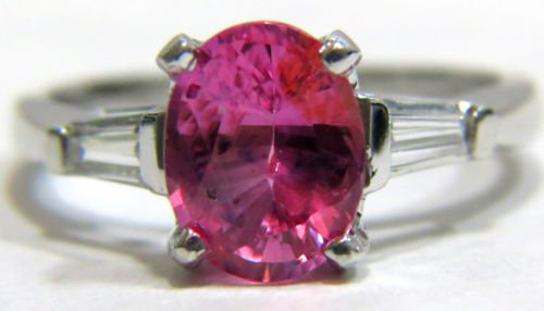 NATURAL 1.88CT PINK SAPPHIRE DIAMOND RING 14KT FREE SIZING