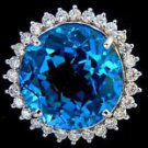 HUGE 30.42CT TOPAZ DIAMOND 14KT RING NATURAL LONDON BLUE ROUND LADIES 7.75 G VS2