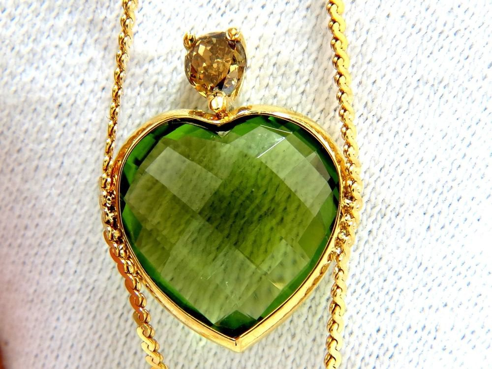 "GIA 11.14CT PERIDOT NATURAL YELLOW DIAMOND HEART SHAPE PENDANT 14KT 28"""