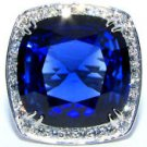 14KT WHITE GOLD 27.50CT LAB CREATED SAPPHIRE DIAMOND RING CERTIFIED