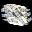 NATURAL 2.25CT DIAMOND COCKTAIL RING CHANNEL SET 14KT LADIES VS2 VINTAGE DECO