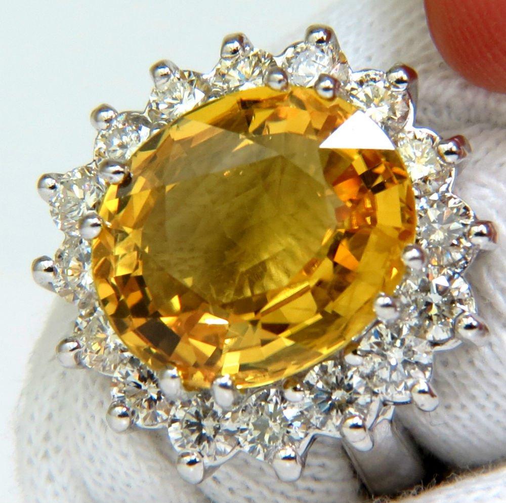 NATURAL YELLOW SAPPHIRE 11.80ct VS2 DIAMOND RING 14KT LADIES NEW