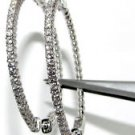 $2400 NATURAL 1.05CT DIAMOND HOOP EARRINGS 14K WHITE GOLD 1.50""