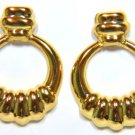 14KT YELLOW GOLD ROUND ANTIQUE EARRINGS VINTAGE NEW