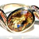 LADIES NATURAL 8.00CT YELLOW CITRINE & DIAMOND RING 14KT
