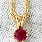 """NATURAL 0.59CT RUBY PENDANT GIA ORIGIN SOLITAIRE 14KT 16"""" CHAIN ROUND RED"""