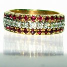 NATURAL 1.13CT RUBY DIAMOND BAND RING 14KT FREE SIZING