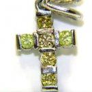 0.60CT NATURAL YELLOW DIAMOND CROSS PENDANT 14KT CRUCIFIX