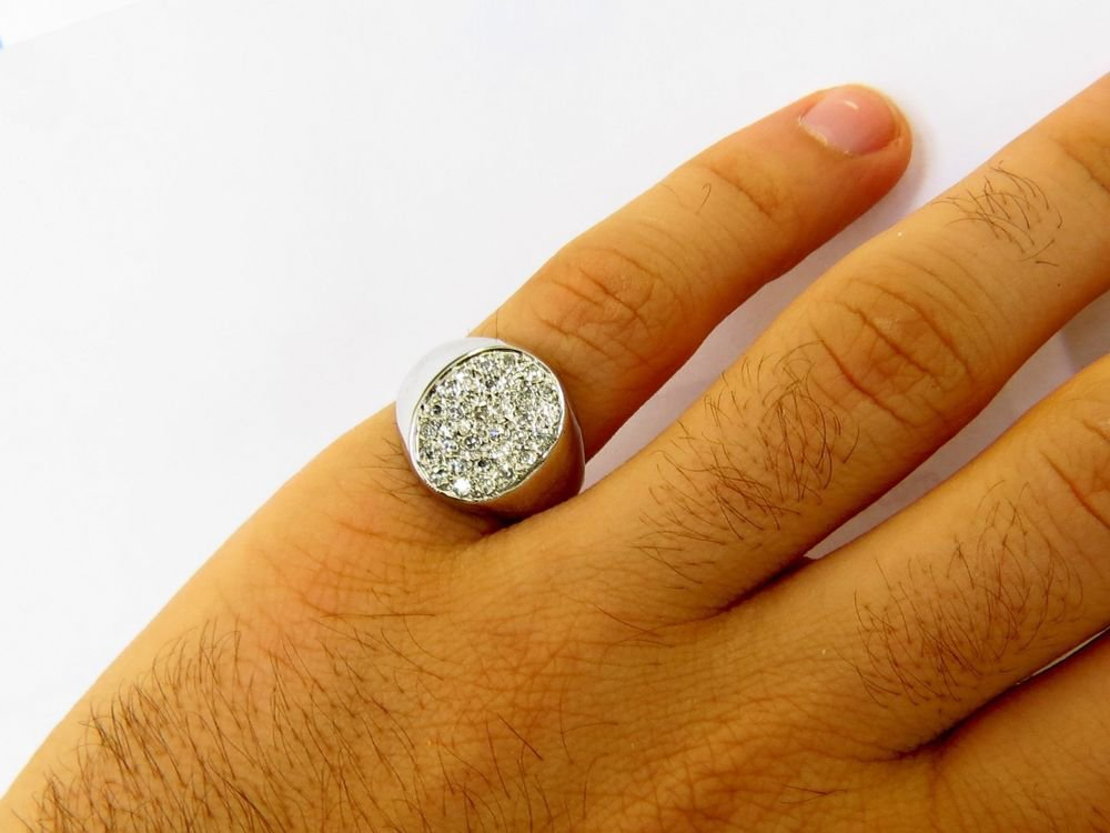 NATURAL 0.70CT DIAMONDS MENS PINKY RING 18KT WHITE GOLD FREE SIZING