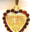 NATURAL 1.20CT GARNET HEART 18KT PENDANT NECKLACE LADIES NEW