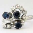 NATURAL 1.50CT SAPPHIRE DIAMOND 14KT COCKTAIL RING LADIES NEW SIZE 8.75