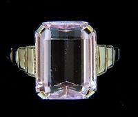 4.00CT NATURAL KUNZITE LADIES RING SOLITAIRE 18KT PLATED SIGNED BUD & BLOSSOM