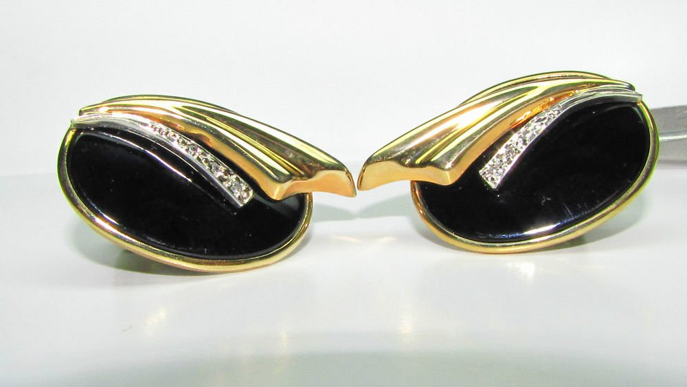 $700 NATURAL hand carved BLACK ONYX DIAMOND EARRINGS